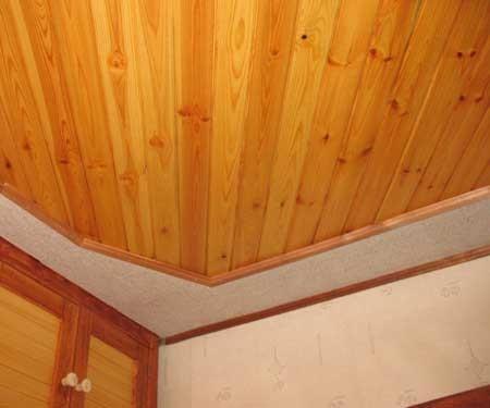Потолок в доме из вагонки своими руками