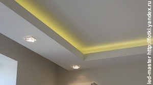 монтаж подсветки потолка