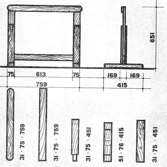 размеры деталей основания стола