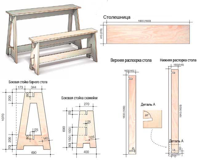 Барная стойка и скамейка
