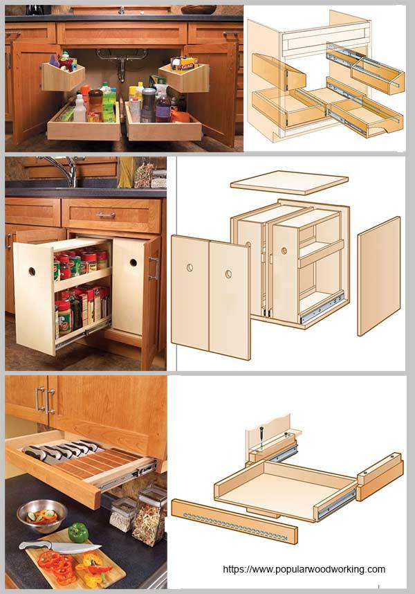 выдвижные ящики для кухни сделай сам
