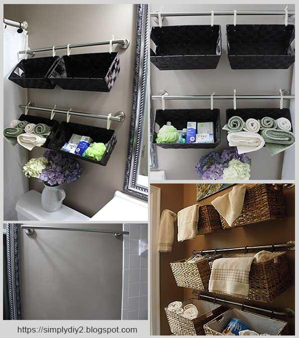 подвесные корзины в ванной комнате