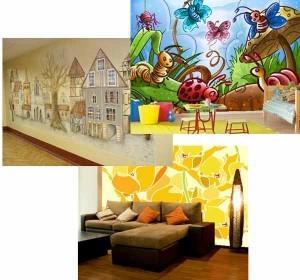 Нанесение рисунка на стены квартиры