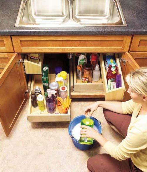 под кухонной мойкой