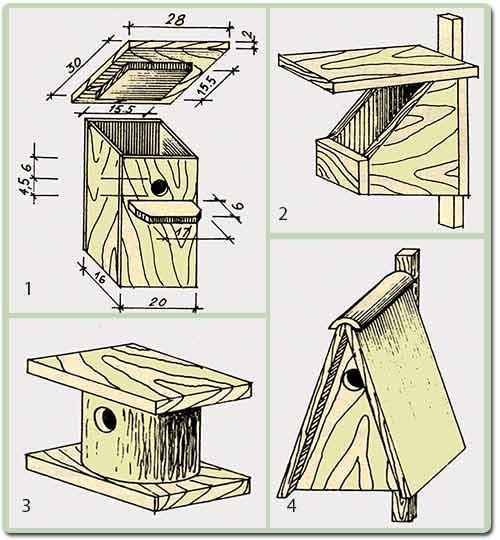 варианты скворечников для птиц