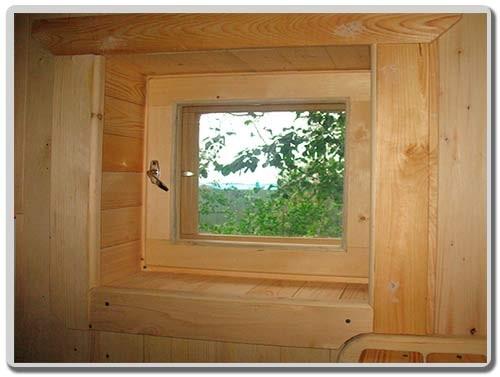 банное деревянное окно