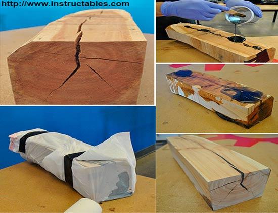 заделка трещин в древесине