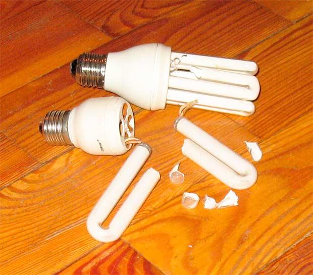 разбилась энергосберегающая лампа