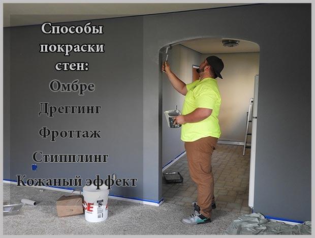 способы покраски стен