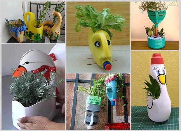 вазы из пластиковых канистр