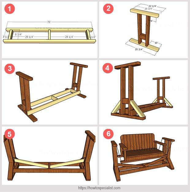 изготовление дивана-качелей