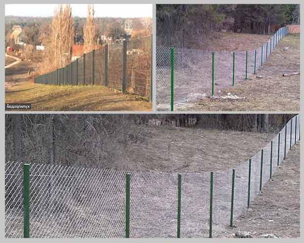 забор на склоне из сетки