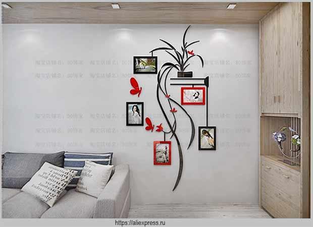 декор стены гостиной