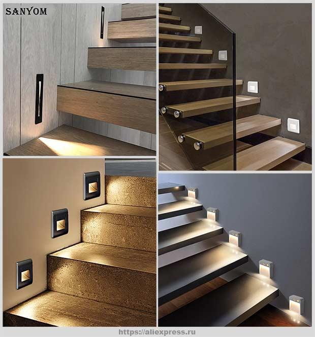 точечные светильники на лестнице