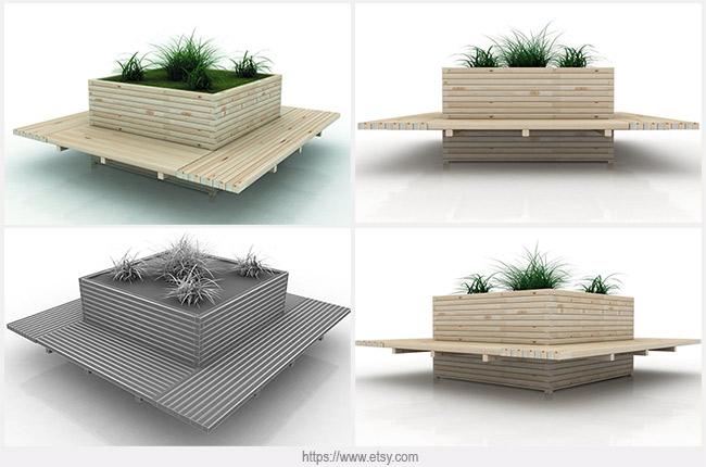 вазон со скамейками