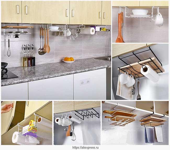 подвесные полочки на кухне