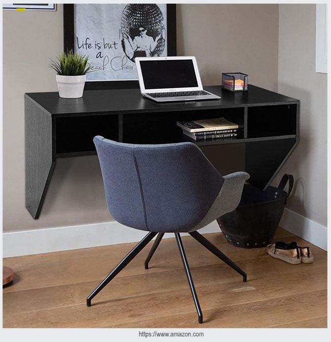черный стол для домашнего офиса