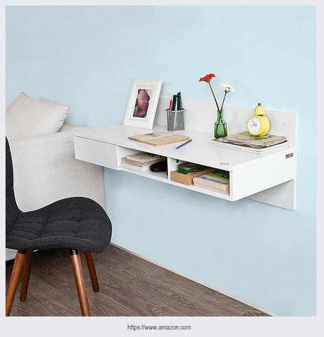 просторный настенный стол для домашнего офиса